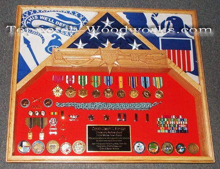 army shadow box with coins