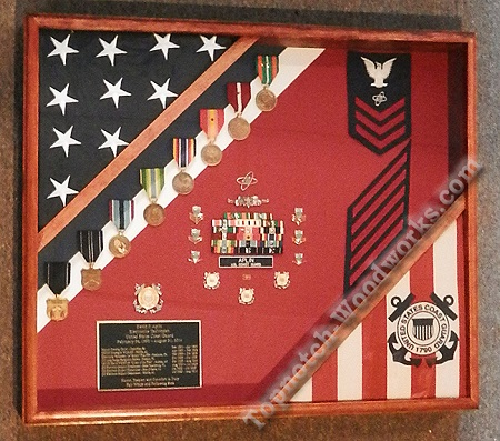 coast guard shadow box with 2 flags
