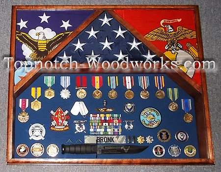 marine corps 3 flag shadow box