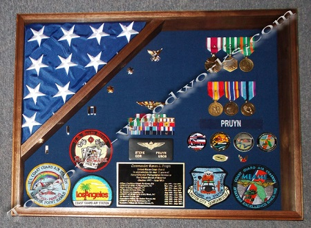 navy shadow box and flag display