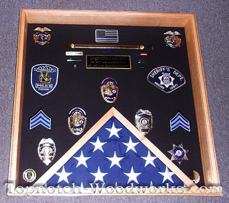 police sargent shadow box with flag