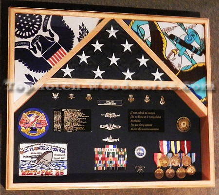 three flag shadow box fo sailors