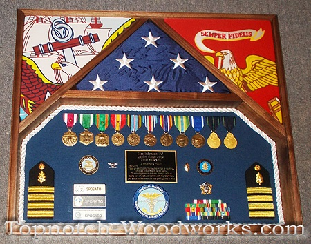 us navy and us marines 3 flag shadow box