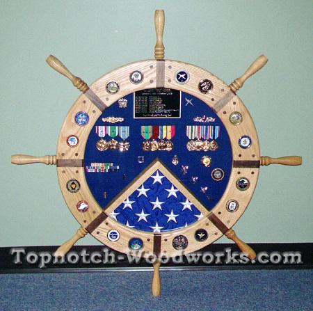 usn ship wheel flag case