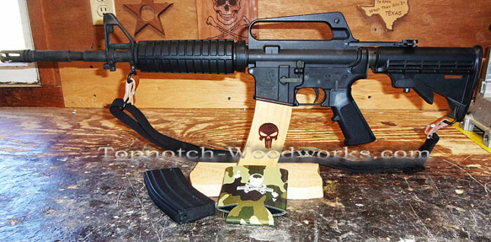 Ar15 wooden rifle display stand