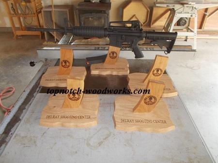 Custom laser engraved AR15 display stands