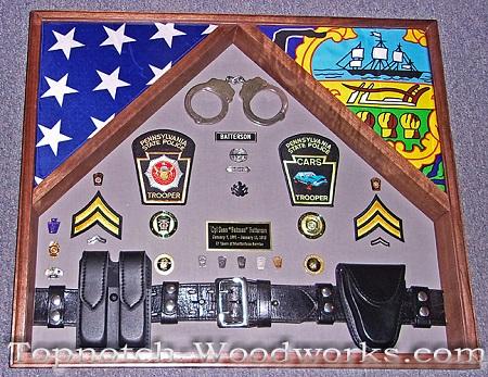 Pennsylvania State Police 2 Flag Shadow Box