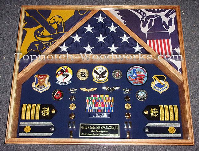 US Public Health 3 flag shadow box