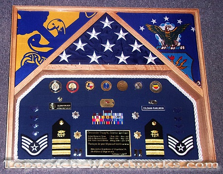 USPHS 2 flag shadow box with rope trim