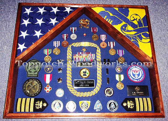 USPHS Retirement shadow box with flags